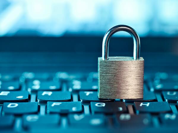 erp managed protect data 01 lock sitting on keyboard