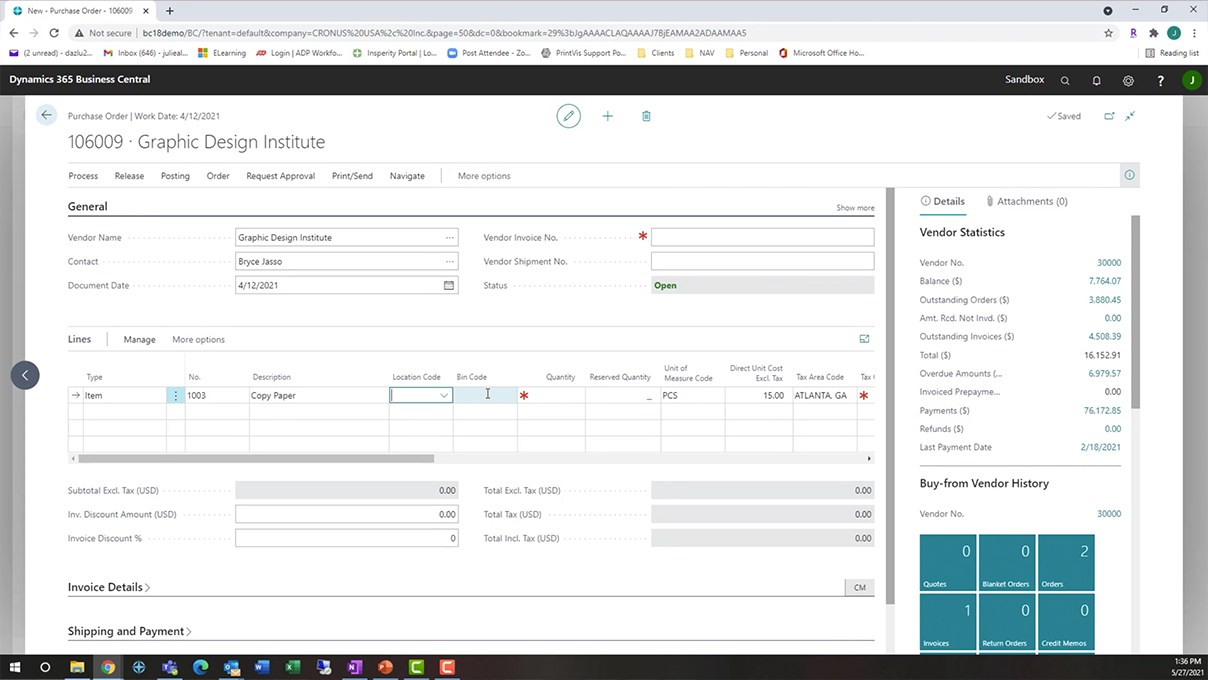 Screenshot_Managing Non Inventory Items in Business Central